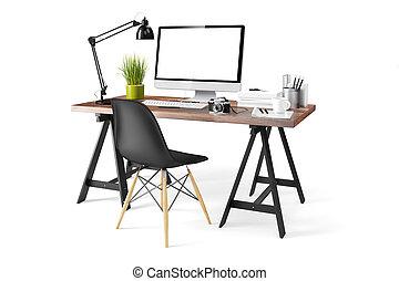 3d, moderno, computer, posto lavoro