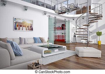 3d, moderno, -, soffitta, galleria