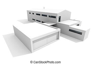 3d, modernos, casa, branco, fundo