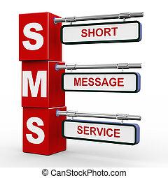 3d, modernos, signboard, de, sms