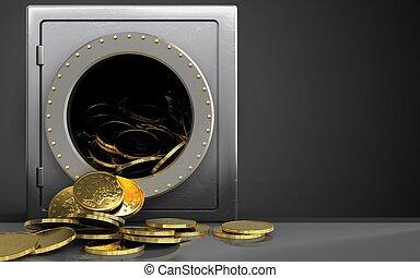 3d, moedas, sobre, pretas