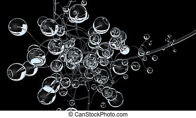 3D molecules or atoms on black background. Abstract molecular structure with white transparent spherical particles, medical background. Science concept. 3d render illustration.