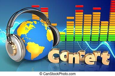 3d, mondiale, écouteurs, concert, signe