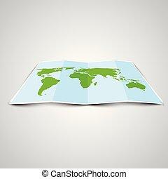 3d, mondo, vettore, mappa