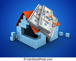 3d money - 3d illustration of block house over blue...