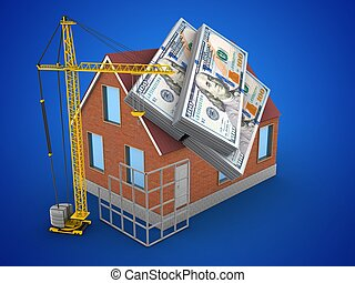 3d money - 3d illustration of bricks house over blue...