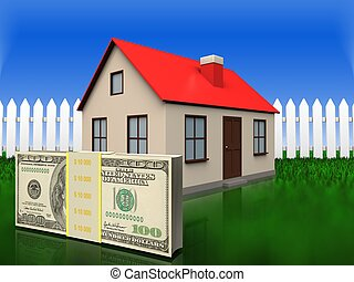 3d money over grass and fence