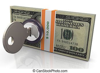 3d money protection - 3d render of locked dollar pack with...