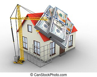 3d money - 3d illustration of generic house over white...