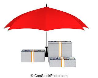 3d money under umbrella