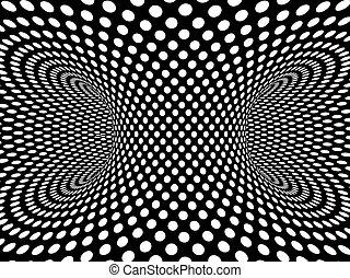 3d Monochrome vortex of dots - 3d render of a monochrome...