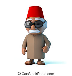 3d Moroccan man wearing a fez - 3d render of a Moroccan man...