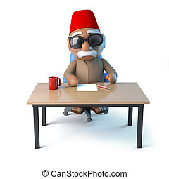 3d Moroccan sits at his desk