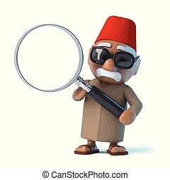 3d Moroccan with a magnifying glass
