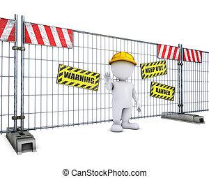 3d, morph, homem, em, construção, cerca