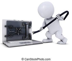 3D Morph Man breaking into a laptop - 3D Render of Morph Man...