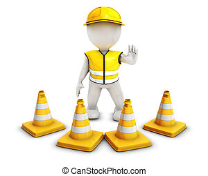 3D Morph Man Builder with Caution Cones - 3D Render of Morph...