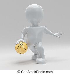3D Morph man playing basketball