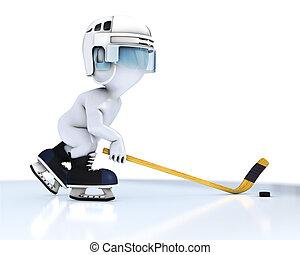 3D Morph Man playing ice hockey - 3D Render of Morph Man ice...
