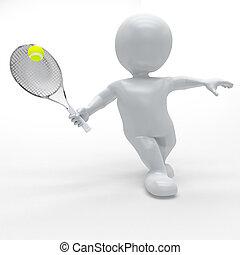 3d morph man playing tennis