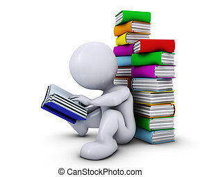 3D Morph Man reading book - 3D Render of Morph Man reading...
