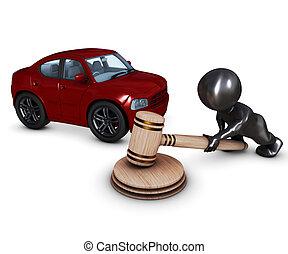 3D Morph Man with car and gavel - 3D Render of Morph Man...