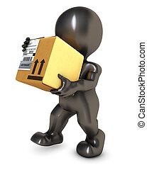 3D Morph Man with cardboard box