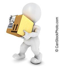 3D Morph Man with cardboard box - 3D Render of Morph Man...
