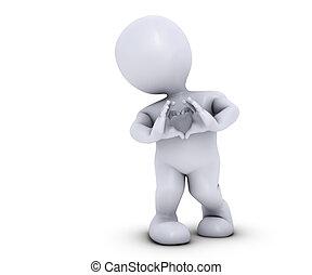 3D Morph Man with heart