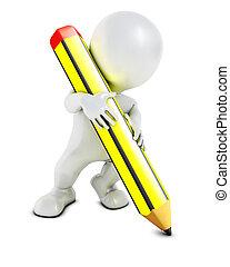 3D Morph Man with pencil - 3D Render of Morph Man pencil