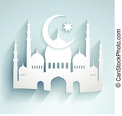 3d mosque moon and star in paper style - vector - great for ramadan backgrounds design