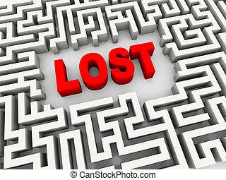 3d, mot, perdu, dans, labyrinthe, puzzle, labyrinthe