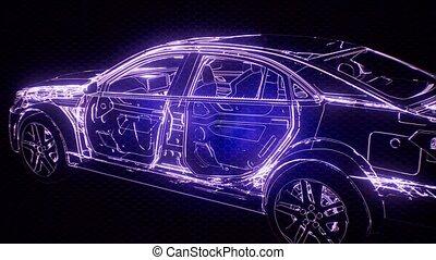 3d, moteur voiture, animation, modèle, wireframe, holographic
