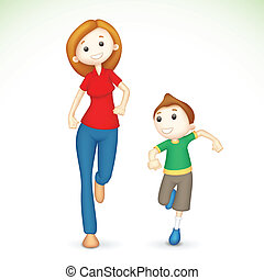 3d Mother and Son Running - illustration of 3d mother and...