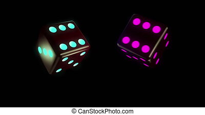 3D motion. Two black glowing dices marked with different number of blue and purple colored dots. Spinning around axis on black background. Close up