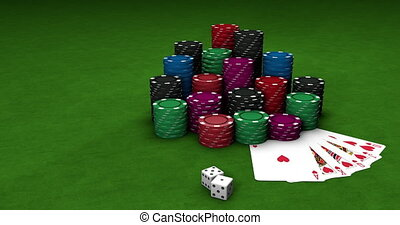 3D motion. Two dices falling on green table surface with stacks of colorful poker chips and playing cards. Gambling entertainment, casino. Close-up