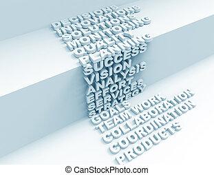 3d, mots croisés, planification, concept