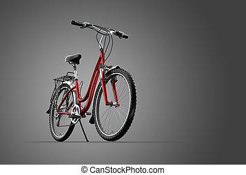 3D mountain bike on grey background - A 3D mountain bike on...