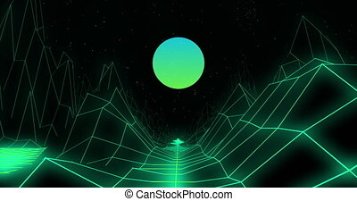 3D mountains over grid lines against green round shape on black background