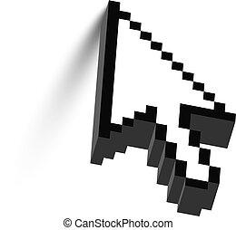 3D mouse arrow cursor with shadow. Vector.