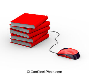 3d mouse attached to books