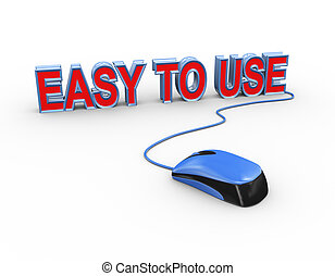 3d mouse attached to word text easy to use