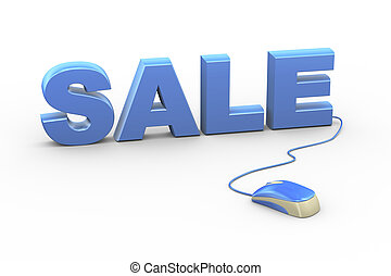 3d mouse attached to word text sale