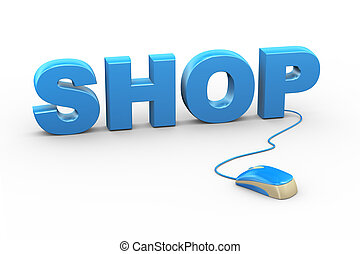 3d mouse attached to word text shop