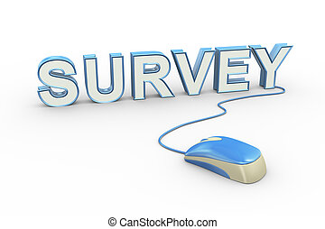 3d mouse attached to word text survey