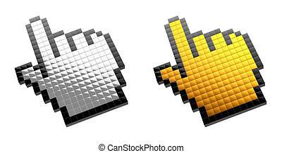 3d mouse cursor - isolated on white background