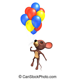 3d Mouse flying with colored balloons