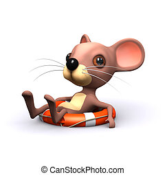 3d Mouse has been rescued - 3d render of a mouse afloat on a...