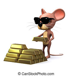 3d Mouse hoards gold - 3d render of a mouse hoarding gold...