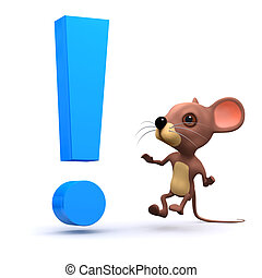 3d Mouse is surprised with an exclamation mark